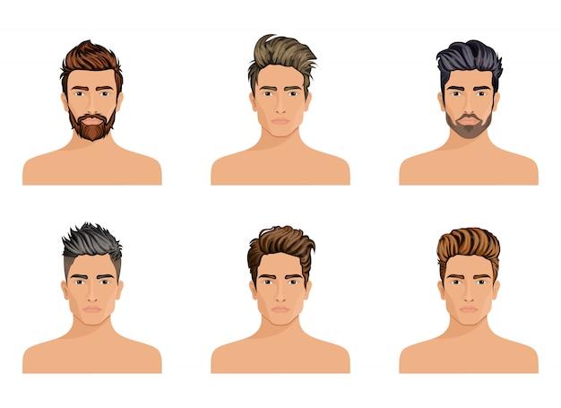 Mężczyźni Tworzyli Fryzurę Brody Postaci, Wąsy Męską Modę, Wizerunek, Stylową Twarz Hipstel. Premium Wektorów