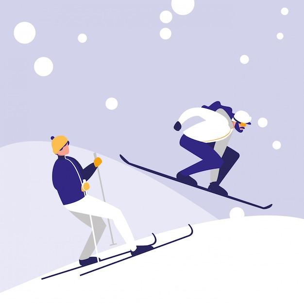 Mężczyźni uprawiający narciarstwo na lodzie jako awatar Premium Wektorów