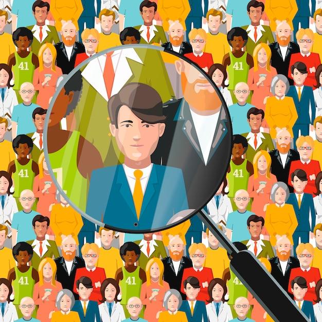 Mężczyźni W Tłumie Pod Lupą, Płaska Ilustracja Premium Wektorów