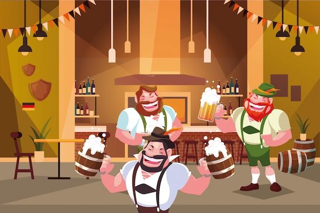 Mężczyźni W Tradycyjnych Strojach Niemieckich Piją Piwo W Barze Oktoberfest Premium Wektorów