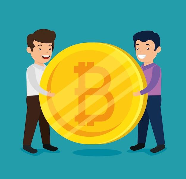 Mężczyźni z elektroniczną walutą finansową bitcoin Darmowych Wektorów