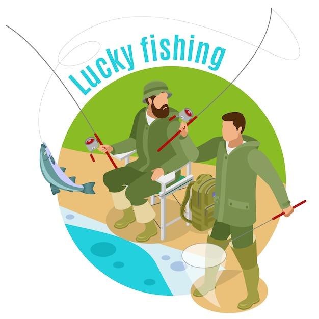 Mężczyźni Z Kołowrotkami I Zaciągami Podczas Szczęśliwego łowienia W Rundzie Darmowych Wektorów