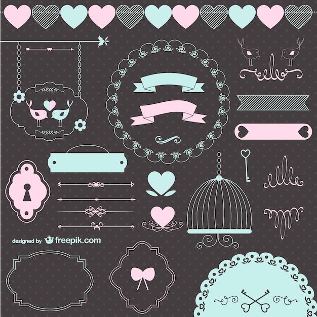Miłość ślub retro elementy graficzne Darmowych Wektorów
