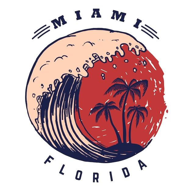 Miami. Szablon Plakatu Z Napisem I Palmami. Wizerunek Premium Wektorów