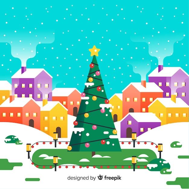 Miasto Bożego Narodzenia W Płaskiej Konstrukcji Darmowych Wektorów
