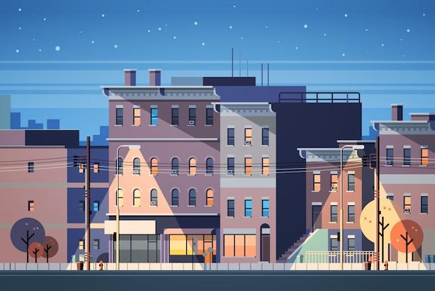 Miasto budynek domy noc widok panoramę tła Premium Wektorów