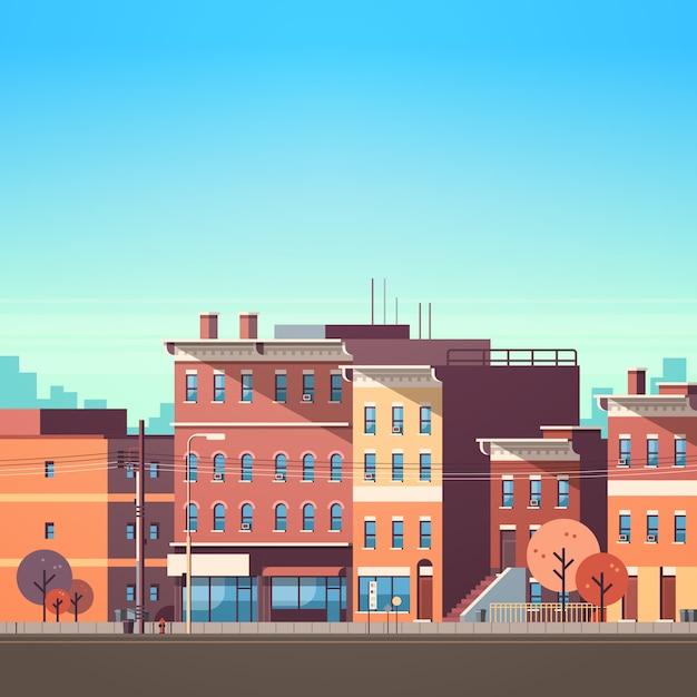 Miasto budynek domy zobacz tło panoramę Premium Wektorów