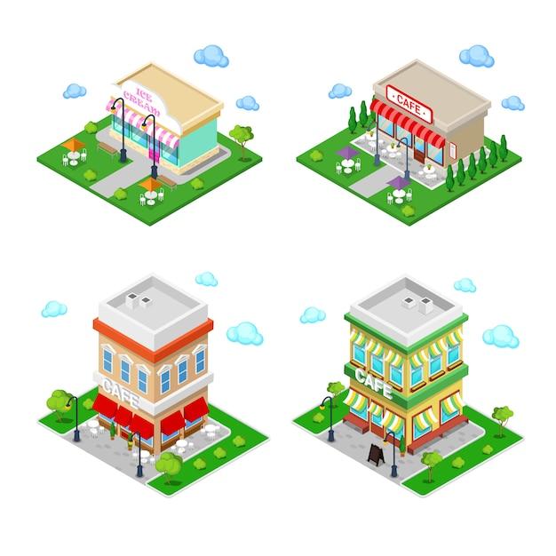 Miasto Izometryczne. City Cafe Ze Stolikami I Drzewami. Premium Wektorów