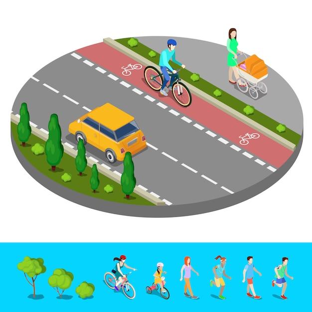 Miasto izometryczne. ścieżka rowerowa z rowerzystą. ścieżka z matką i wózkiem dziecięcym. ilustracji wektorowych Premium Wektorów