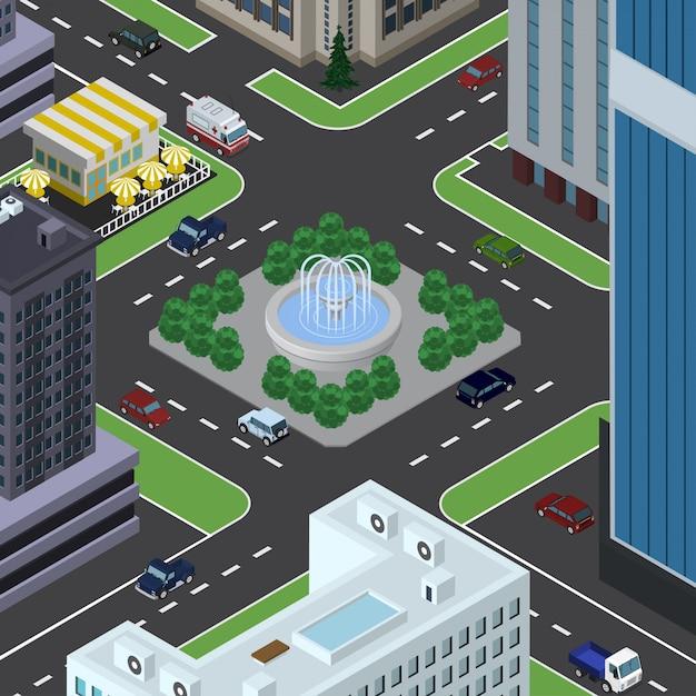 Miasto Izometryczne Premium Wektorów