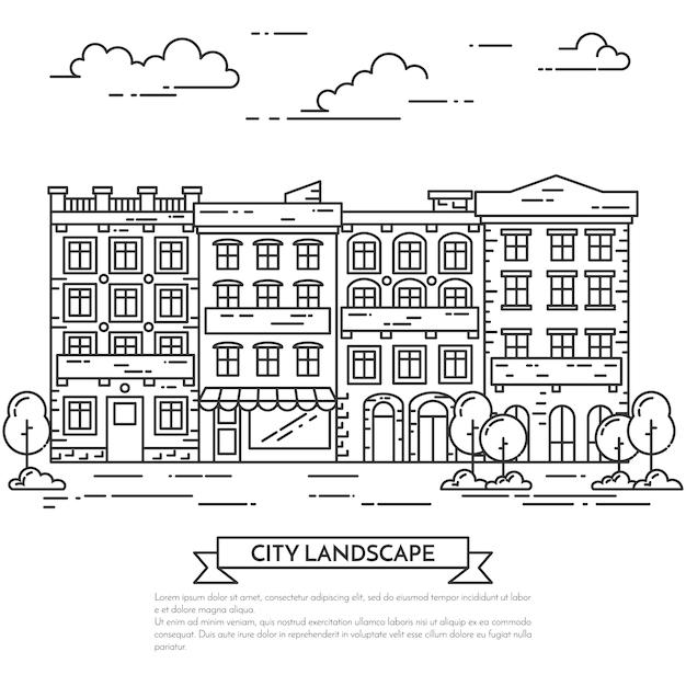 Miasto krajobraz z domami, drzewami i chmurami. Premium Wektorów