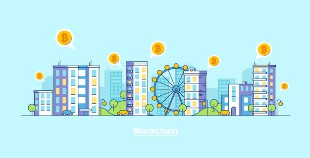 Miasto Kryptowalut. Bitcoin I Blockchain Technologii Płaska Wektorowa Ilustracja. Premium Wektorów