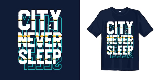 Miasto Nigdy Nie śpi, Projekt Koszulki Nyc W Futurystycznym Stylu Premium Wektorów