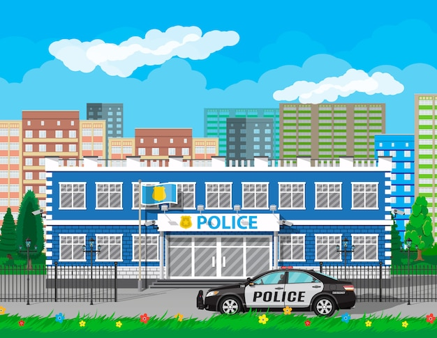 Miasto Posterunek Policji Biulding, Samochód, Drzewo, Gród Premium Wektorów