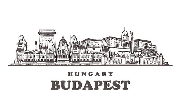 Miasto Szkicu Budapeszt, Węgry Premium Wektorów