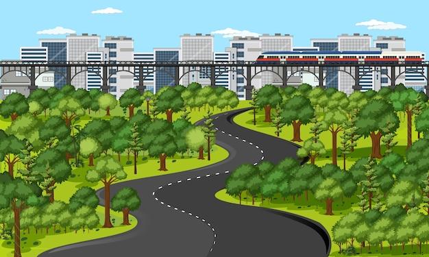 Miasto Ze Sceną Krajobrazową Parku Przyrody Darmowych Wektorów