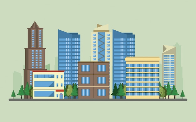 Miastowe Budynki Z Pejzaż Miejski Scenerią Darmowych Wektorów