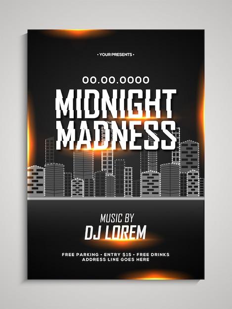 Midnight Madness Szablon Tańca Nocnego, Ulotka Taneczna, Baner Imprezy Nocnej Lub Prezentacja Klubu Z Datą I Miejscami. Premium Wektorów