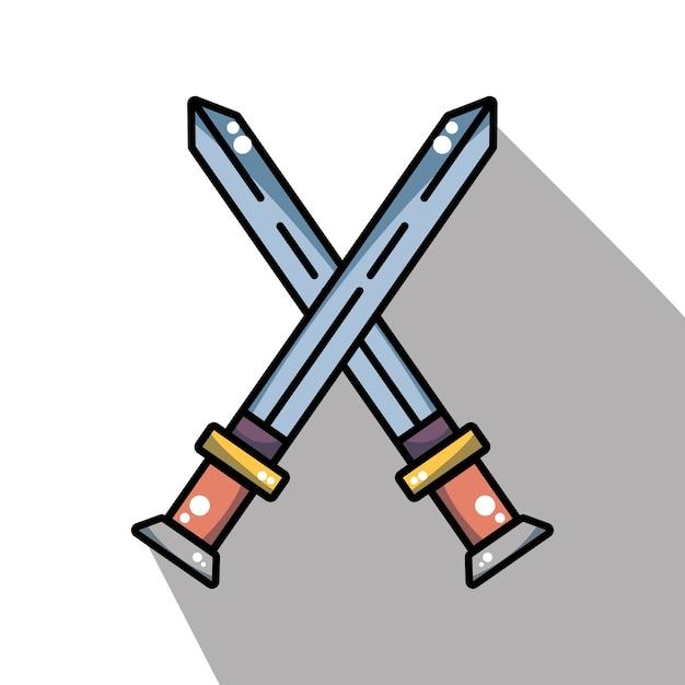 Miecze średniowiecznego Wojska W Krzyżu Premium Wektorów