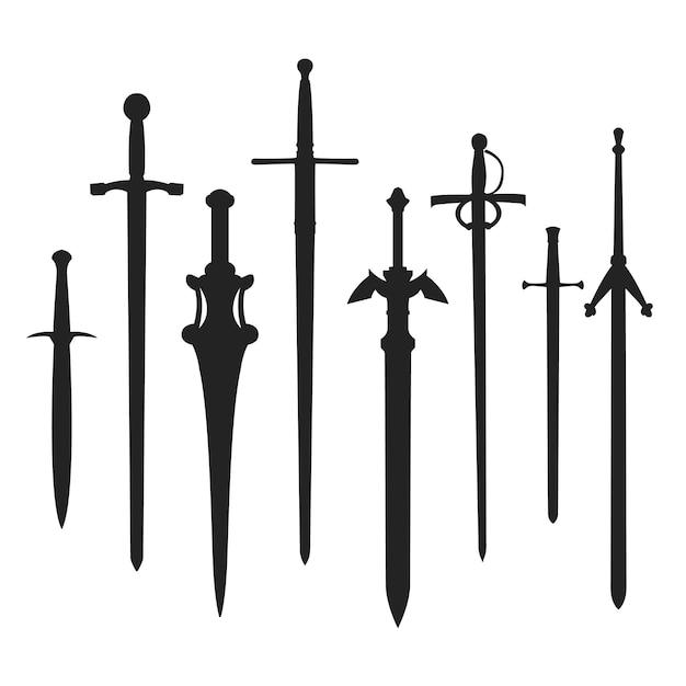 Miecze Sylwetka Broni. Clip Art średniowieczny Kształt. Premium Wektorów