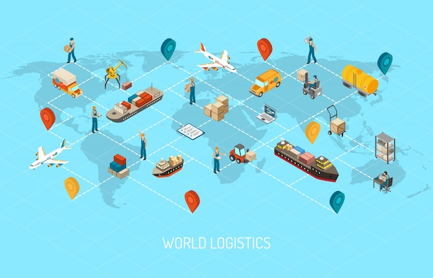 Międzynarodowa działalność logistyczna na całym świecie Darmowych Wektorów
