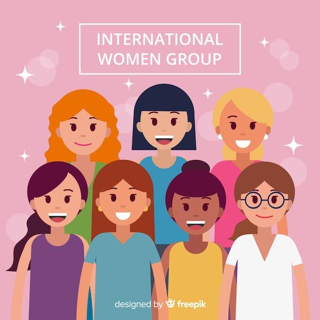 Międzynarodowa grupa kobiet o płaskiej konstrukcji Darmowych Wektorów