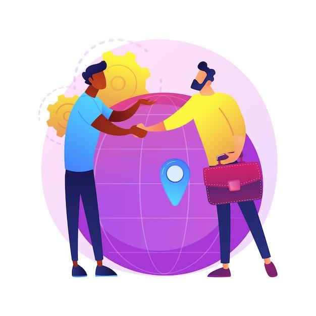 Międzynarodowa Współpraca Biznesowa. Bizneswoman I Biznesmen, ściskając Ręce. Globalna Współpraca, Umowa, Partnerstwo Międzynarodowe. Darmowych Wektorów