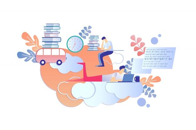 Międzynarodowe Nauczanie Na Odległość Za Pomocą E-książek. Premium Wektorów