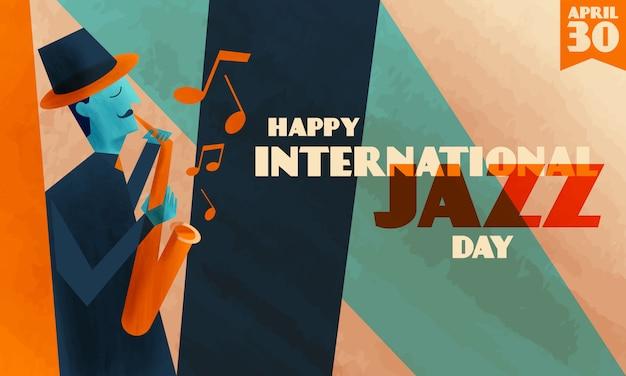 Międzynarodowe tło dnia jazzu Premium Wektorów