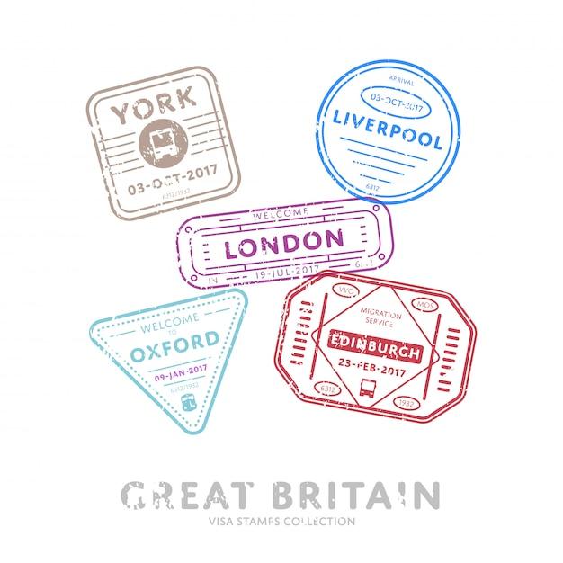 Międzynarodowe Znaczki Wizy Podróżnej. Premium Wektorów