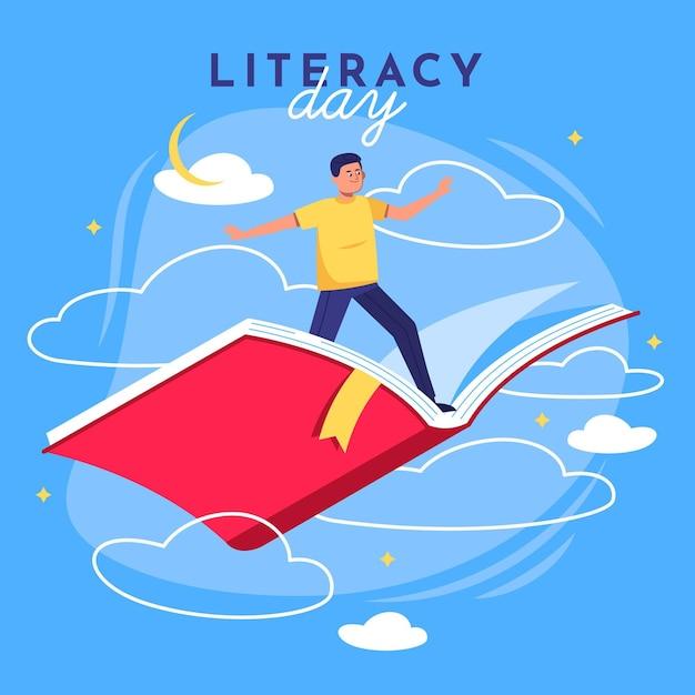 Międzynarodowy Dzień Alfabetyzacji Z Człowiekiem Latającym Na Książkę Darmowych Wektorów