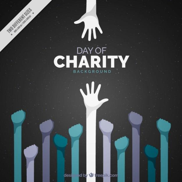 Międzynarodowy Dzień Charytatywny Z Podniesionymi Rękami Premium Wektorów