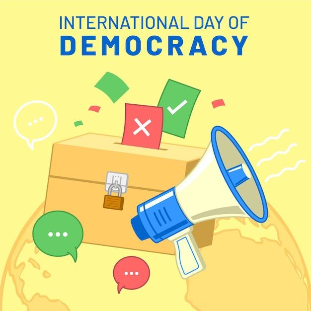 Międzynarodowy Dzień Demokracji Z Megafonem Darmowych Wektorów