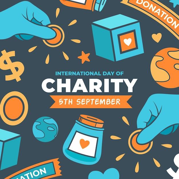 Międzynarodowy Dzień Dobroczynności Koncepcji Losowania Premium Wektorów
