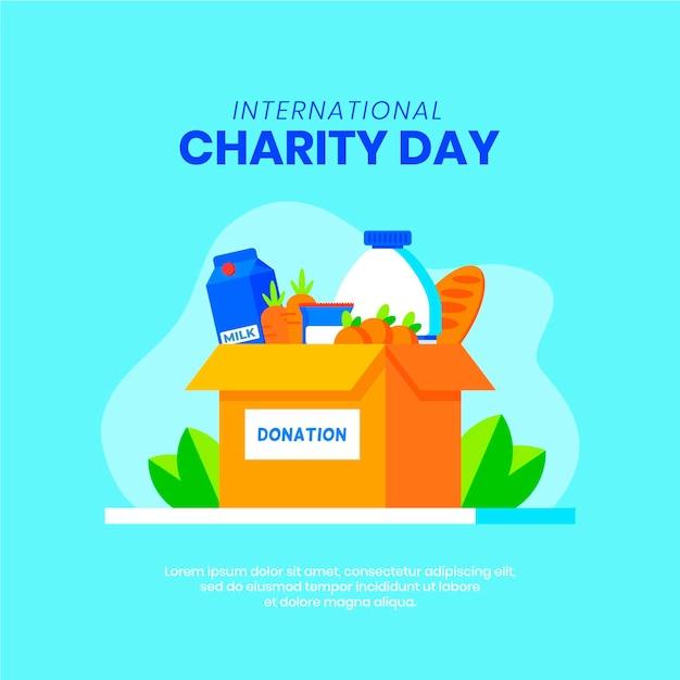 Międzynarodowy Dzień Dobroczynności Z Darowiznami Premium Wektorów