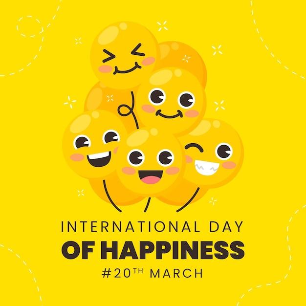 Międzynarodowy Dzień Ilustracji Szczęścia Darmowych Wektorów