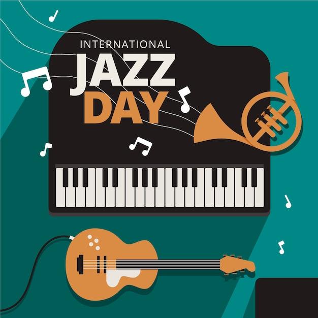 Międzynarodowy Dzień Jazzu O Płaskiej Konstrukcji Darmowych Wektorów