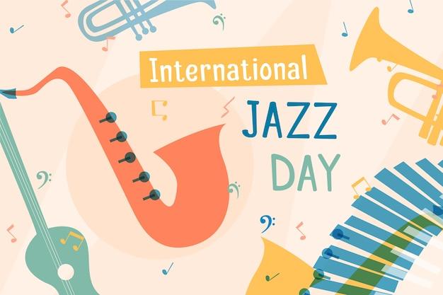 Międzynarodowy Dzień Jazzu O Płaskiej Konstrukcji Premium Wektorów