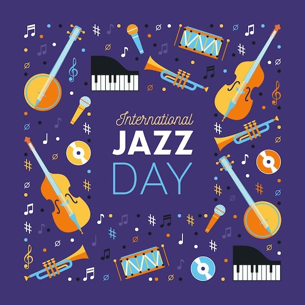 Międzynarodowy Dzień Jazzu W Płaskiej Konstrukcji Darmowych Wektorów
