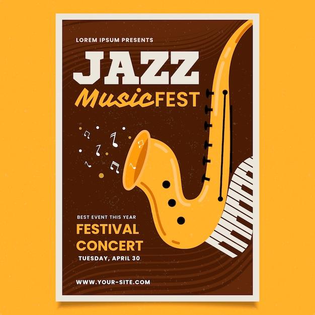 Międzynarodowy Dzień Jazzu W Stylu Vintage Darmowych Wektorów