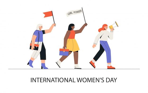 Międzynarodowy Dzień Kobiet, 8 Marca. Grupa Kobiet Różnych Narodowości Maszeruje Z Głośnikiem I Flagami. Premium Wektorów