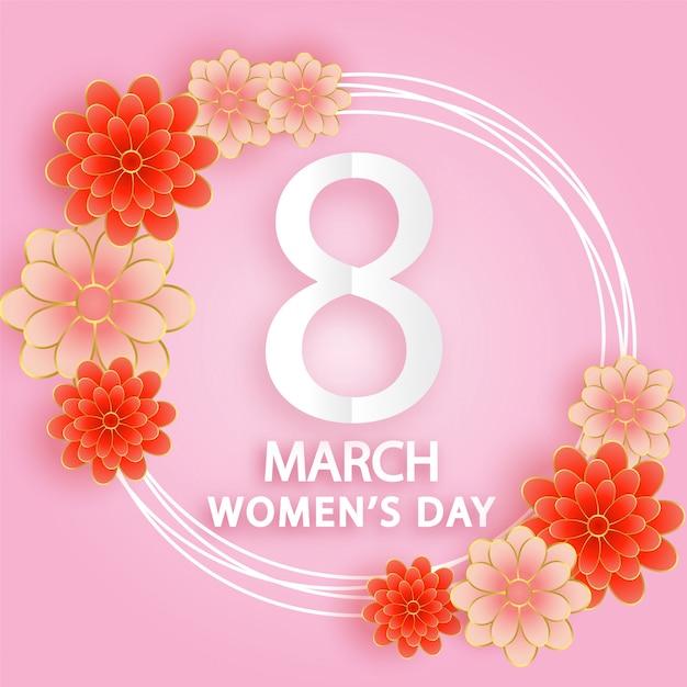 Międzynarodowy Dzień Kobiet, 8 Marca W Stylu Wycinanki. Premium Wektorów