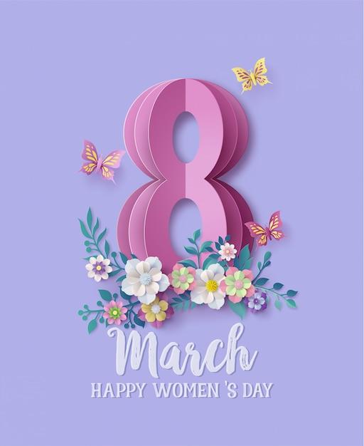 Międzynarodowy dzień kobiet 8 marca Premium Wektorów