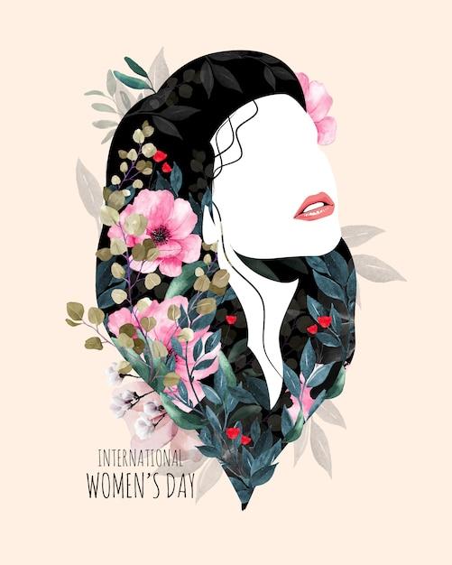 Międzynarodowy Dzień Kobiet. Sylwetka Kobiety Z Kwiatami. Premium Wektorów