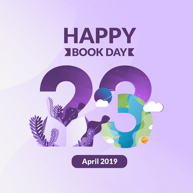 Międzynarodowy dzień książki w 23 kwietnia Premium Wektorów