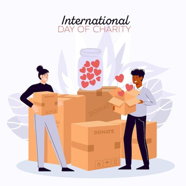 Międzynarodowy Dzień Miłosierdzia Z Ludźmi I Pudełkami Premium Wektorów
