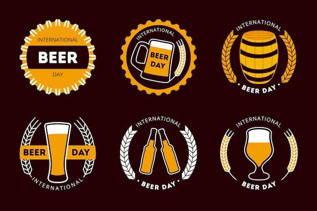 Międzynarodowy Dzień Piwa Etykiety Płaska Konstrukcja Darmowych Wektorów