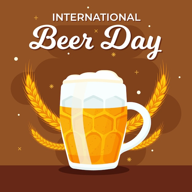 Międzynarodowy Dzień Piwa Z Kuflem Piwa I Pszenicy Darmowych Wektorów