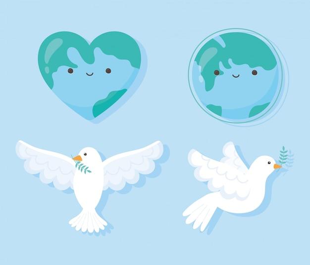 Międzynarodowy Dzień Pokoju Gołąb Z Ilustracji Wektorowych Mapa Serca Kształt Lgobe Liścia Premium Wektorów