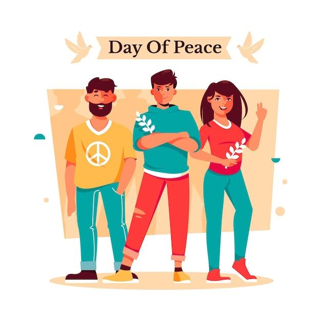 Międzynarodowy Dzień Pokoju Ilustracja Z Ludźmi Darmowych Wektorów